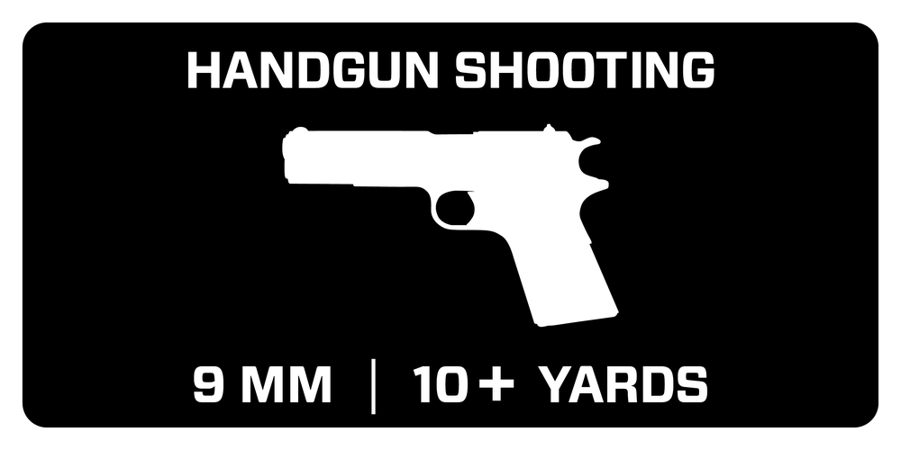 Recommended for Handgun Shooting - 9mm Luger at 10+ yards